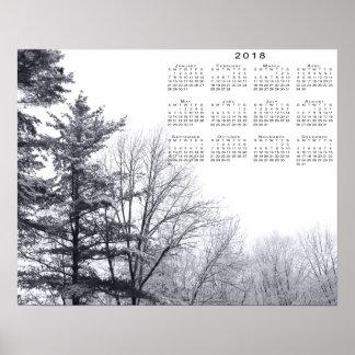 Árvores cobertos de neve: Impressão horizontal de