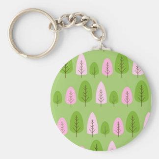 Árvores cor-de-rosa e verdes no verde chaveiro