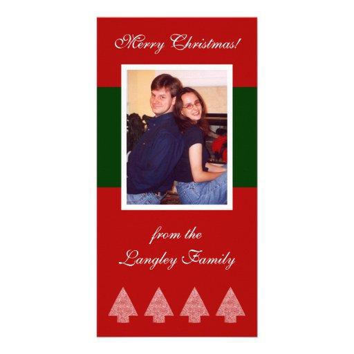 Árvores de Natal verdes da listra Cartão Com Fotos
