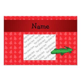 Árvores de Natal vermelhas personalizadas do jacar Impressão De Foto
