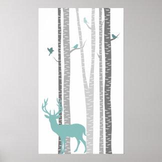 Árvores de vidoeiro com cervos impressão