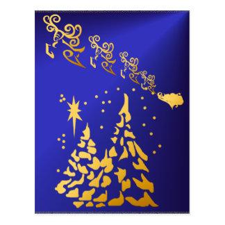 Árvores do ouro e cartão da rena de Santa
