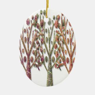 Árvores mágicas do outono ornamento de cerâmica oval