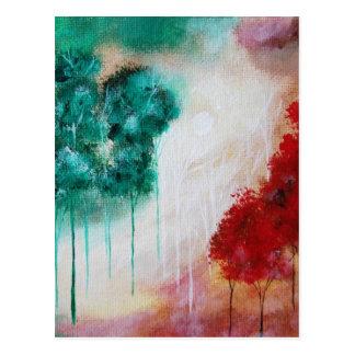 Árvores magros Enchanted da paisagem da arte Cartão Postal