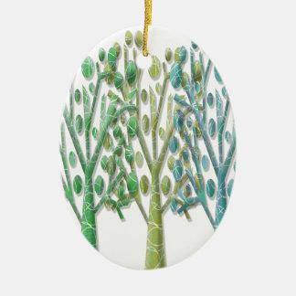Árvores verdes mágicas ornamento de cerâmica oval
