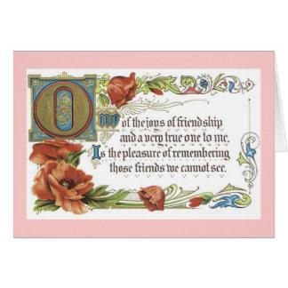 As alegrias da amizade cartão comemorativo