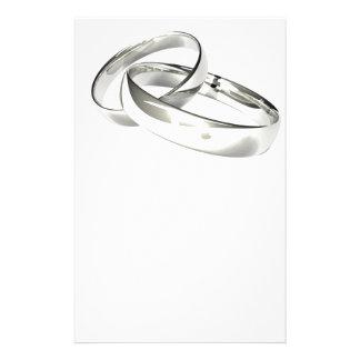 As alianças de casamento de prata salvar a data papelaria