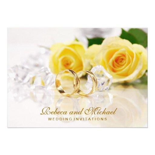 As alianças de casamento elegantes do ouro convida convite personalizado