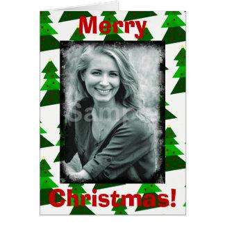 As árvores bonitos do Feliz Natal adicionam sua Cartão Comemorativo