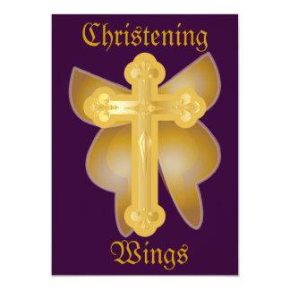 As asas do batismo Convite-Personalizam Convite 12.7 X 17.78cm