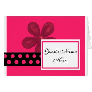 As bolinhas cor-de-rosa & pretas almoçam/convites  cartão