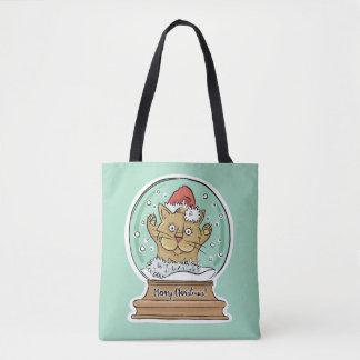As bolsas engraçadas bonitos do gato do Natal