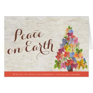 As borboletas da paz dobraram o cartão de Natal do