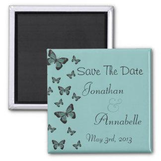 As borboletas esmeraldas salvar a data personaliza imã de refrigerador