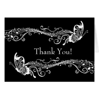 As borboletas musicais personalizaram o obrigado cartão de nota