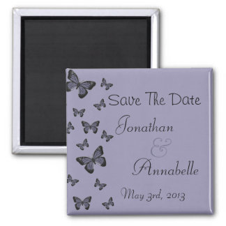 As borboletas roxas salvar a data personalizada ima de geladeira