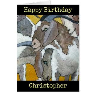 As cabras personalizaram o cartão da arte do feliz