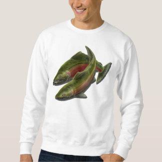 As camisas dos homens dos salmões de Coho das