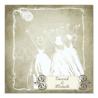 As cinzas antigas lanç o convite de casamento do convite quadrado 13.35 x 13.35cm