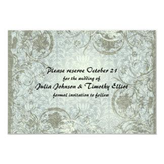 As cinzas azuis do poema do amor do vintage salvar convite 8.89 x 12.7cm