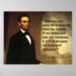 """As citações """"América de Abraham Lincoln nunca serã Poster"""