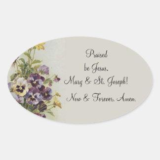 As citações florais da oração dos Pansies do Adesivo Oval