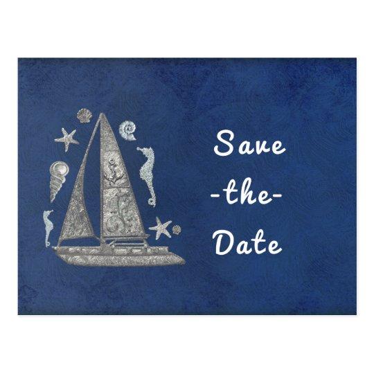 As coisas de prata náuticas do barco & da praia cartão postal