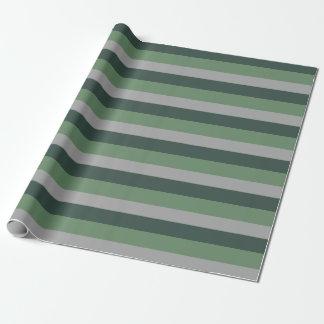 As cores na moda verdes e a cinza listram o teste papel de presente