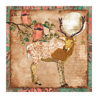 As corujas aciganadas cor-de-rosa douradas & o lua impressão em tela canvas