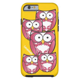 As corujas cor-de-rosa coloridas bonitos mudam o capa tough para iPhone 6