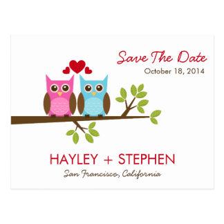As corujas do amor salvar o cartão de data
