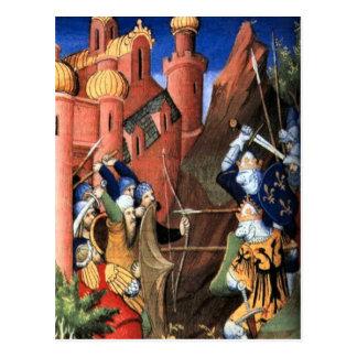 As cruzadas, imagem medieval cartão postal