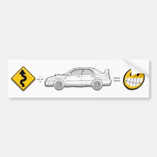 As curvas, Subaru, igualam o autocolante no vidro  Adesivo