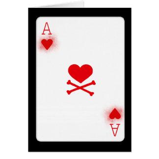 Ás do póquer dos corações que joga o cartão de