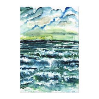 as dunas de areia encalham a pintura litoral das o impressão em canvas