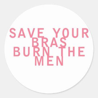 As economias do feminismo seus sutiãs queimam os adesivo em formato redondo