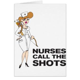 As enfermeiras chamam os tiros cartão comemorativo