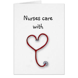As enfermeiras importam-se com coração - presente  cartão comemorativo
