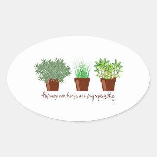 As ervas caseiros são minha especialidade adesivos em formato ovais