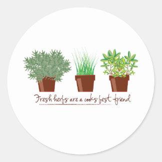 As ervas frescas são um cozinheiro adesivo