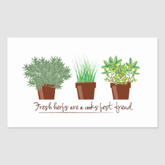 As ervas frescas são um cozinheiro adesivo em forma retangular