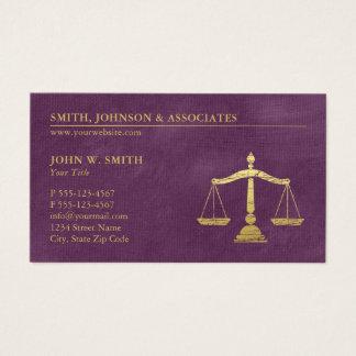 As escalas roxas do advogado do ouro de justiça cartão de visitas