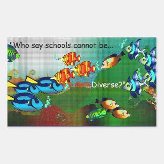 As escolas são diversas adesivo retangular