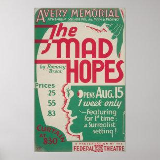 As esperanças loucas pelo poster vintage de Romney