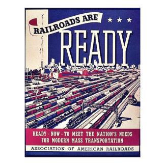 As estradas de ferro estão prontas modelo de panfletos