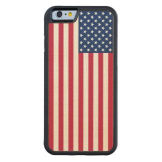 As estrelas patrióticas dos EUA listram a caixa do Capa De Carvalho Bumper Para iPhone 6