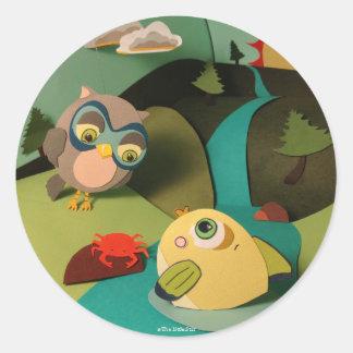 As etiquetas pequenas da coruja & dos peixes da adesivo