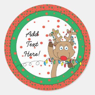 As etiquetas redondas Rudolph do Natal