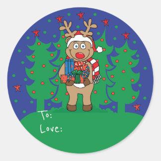 """As etiquetas redondas """"Rudolph"""" do Natal"""