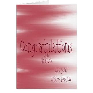 As felicitações no trabalho novo sonham a flor cartão comemorativo